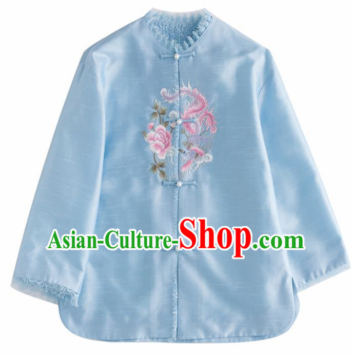 Chinese Traditional National Costume Tang Suit Upper Outer Garment Embroidered Blue Jacket for Women