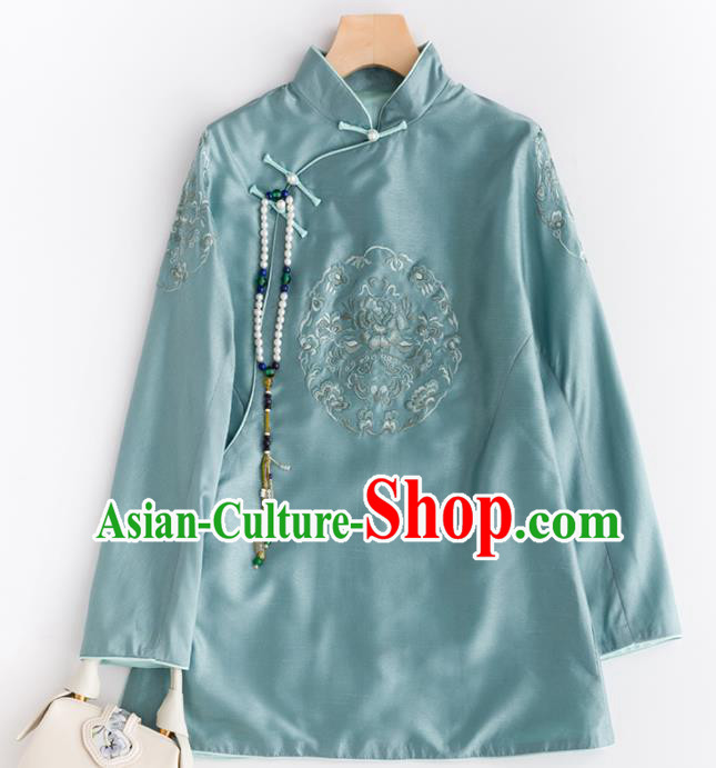 Chinese Traditional National Costume Tang Suit Upper Outer Garment Embroidered Blue Blouse for Women
