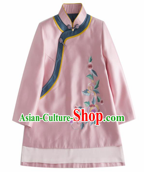 Chinese Traditional Tang Suit National Costume Upper Outer Garment Embroidered Pink Coat for Women