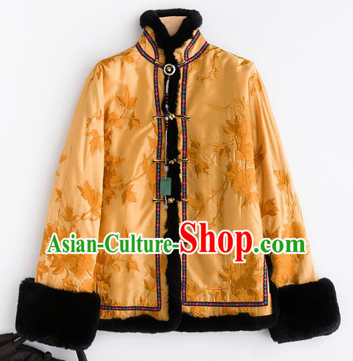 Chinese Traditional Tang Suit Golden Cotton Padded Jacket National Costume Outer Garment for Women