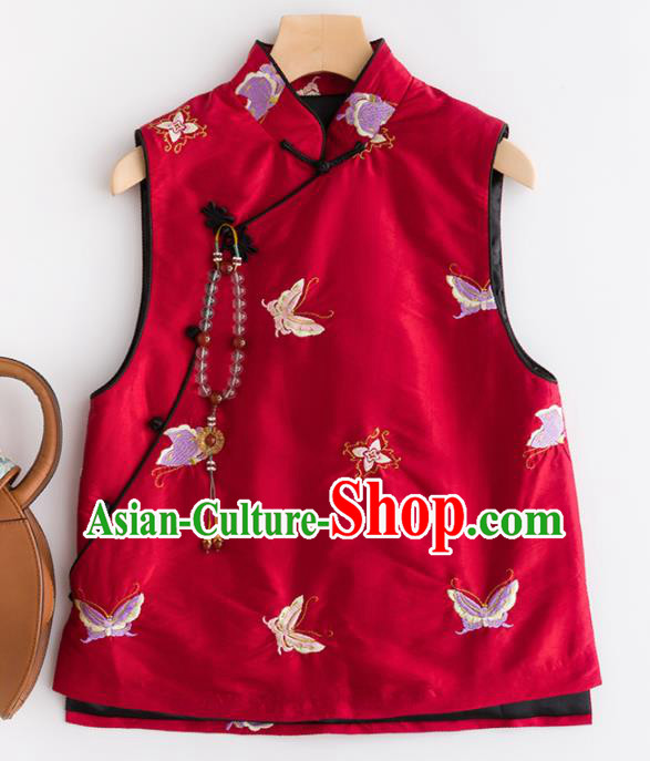 Traditional Chinese National Costume Tang Suit Embroidered Butterfly Red Waistcoat for Women