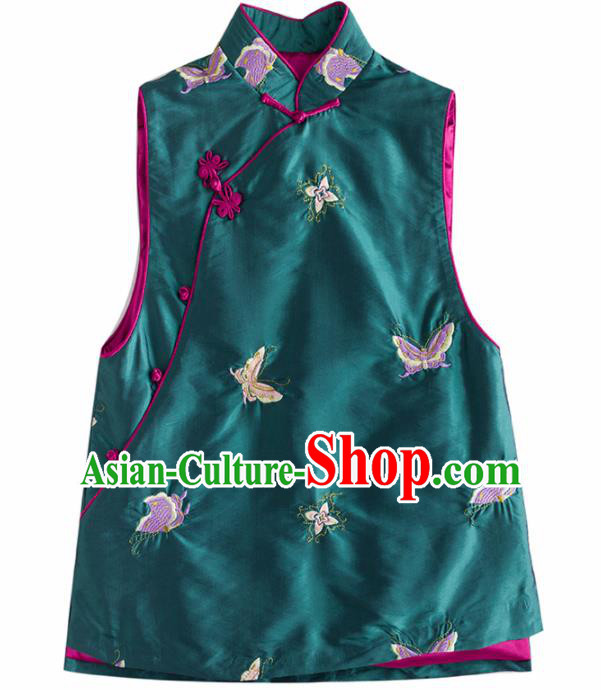 Traditional Chinese National Costume Tang Suit Embroidered Butterfly Green Waistcoat for Women