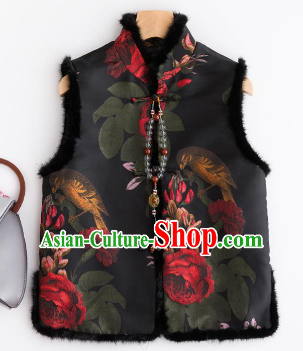 Traditional Chinese National Costume Tang Suit Black Suede Fabric Waistcoat for Women