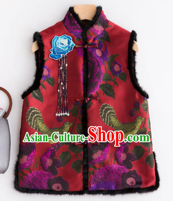 Traditional Chinese National Costume Tang Suit Red Suede Fabric Waistcoat for Women