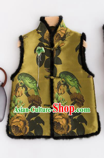 Traditional Chinese National Costume Tang Suit Olive Green Suede Fabric Waistcoat for Women