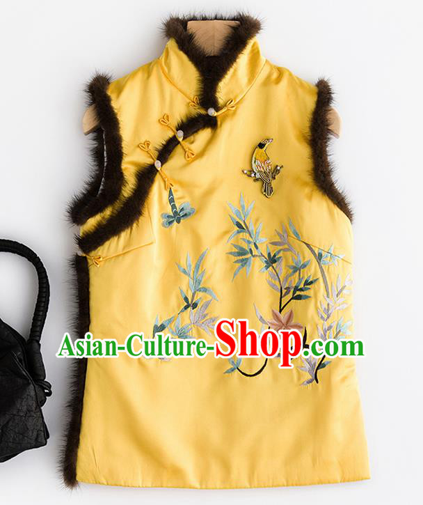 Traditional Chinese National Costume Tang Suit Embroidered Yellow Brocade Waistcoat for Women