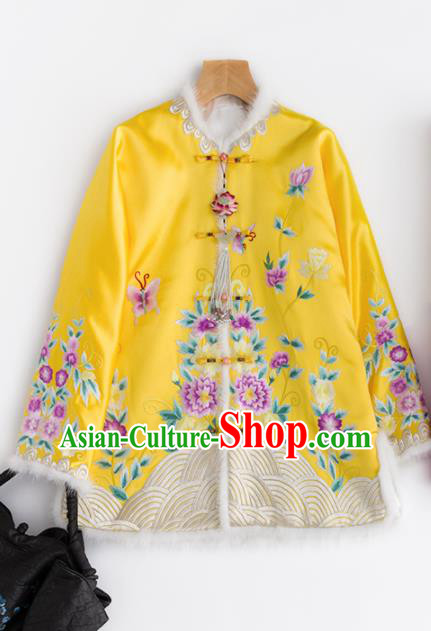 Chinese Traditional Costume National Tang Suit Yellow Cotton Padded Jacket Outer Garment for Women