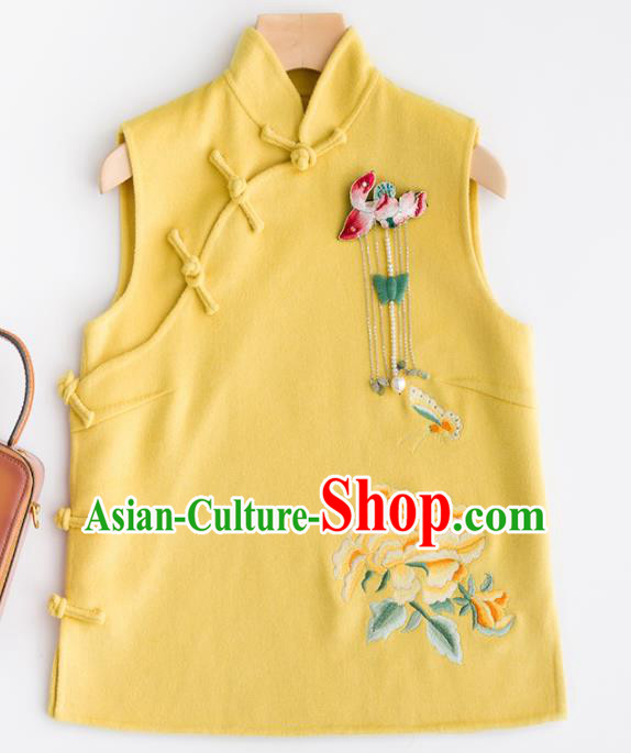 Traditional Chinese National Costume Tang Suit Embroidered Yellow Woolen Waistcoat for Women