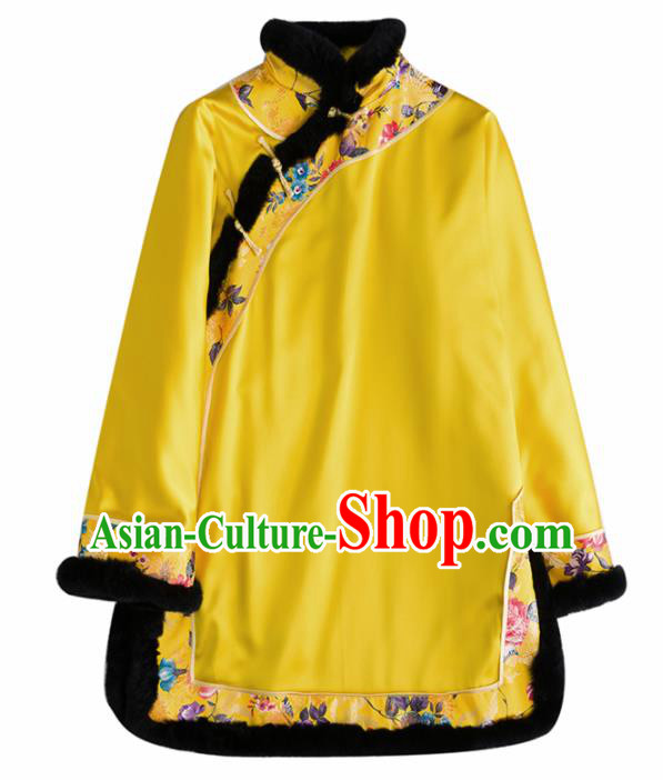 Chinese Traditional Costume National Tang Suit Yellow Jacket Embroidered Outer Garment for Women