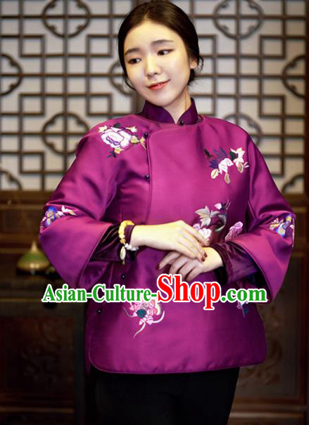 Chinese Traditional Costume National Tang Suit Purple Cotton Padded Jacket Outer Garment for Women