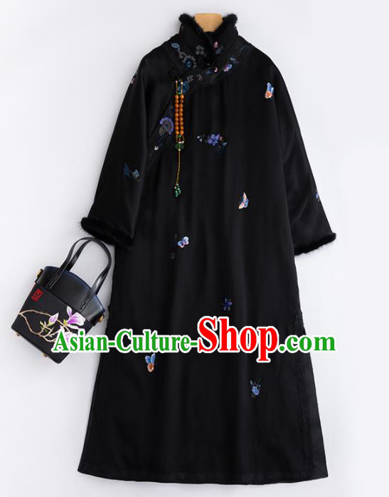 Chinese Traditional Costume National Tang Suit Black Cotton Padded Coat Outer Garment for Women