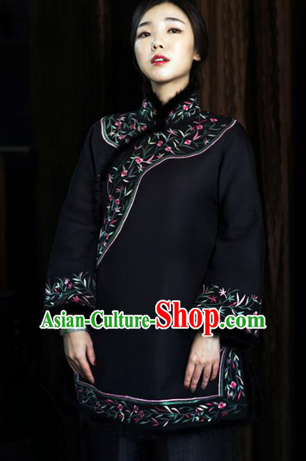 Chinese Traditional Costume National Tang Suit Woolen Coat Outer Garment for Women