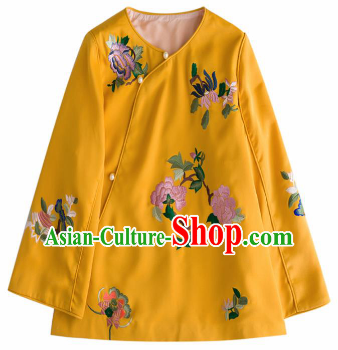 Chinese Traditional National Costume Tang Suit Upper Outer Garment Embroidered Peony Yellow Blouse for Women