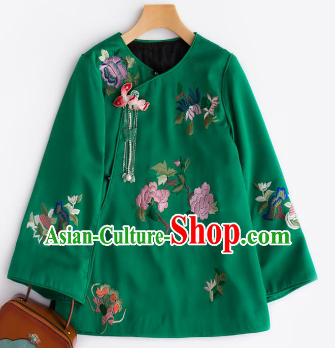Chinese Traditional National Costume Tang Suit Upper Outer Garment Embroidered Peony Green Blouse for Women