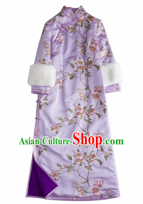 Chinese Traditional National Costume Cheongsam Ancient Qing Dynasty Embroidered Purple Qipao Dress for Women