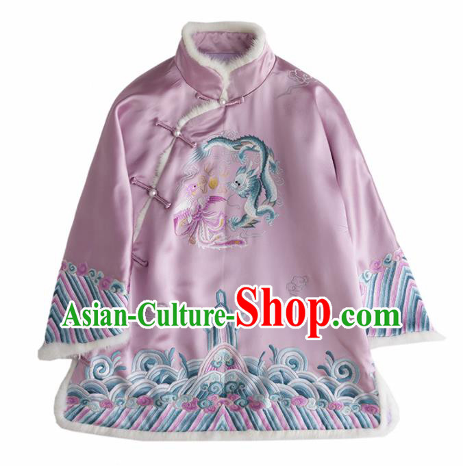 Chinese Traditional National Costume Tang Suit Upper Outer Garment Embroidered Dragon Phoenix Pink Shirts for Women