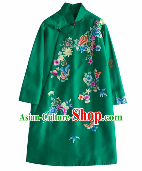 Chinese Traditional National Costume Tang Suit Embroidered Green Coat for Women