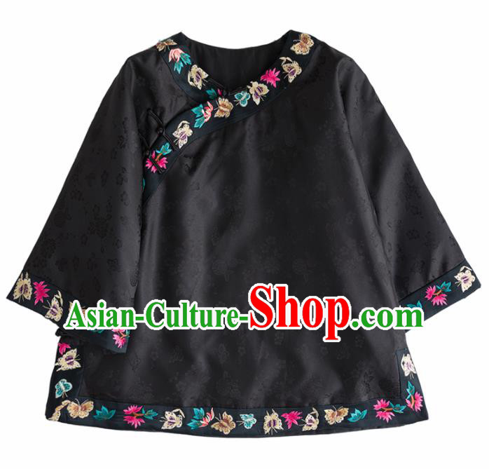 Chinese Traditional National Costume Tang Suit Embroidered Black Shirts for Women