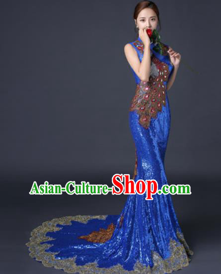 Chinese Traditional Wedding Costume Classical Royalblue Trailing Full Dress for Women