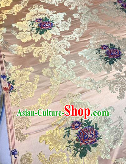 Chinese Traditional Buddhism Roses Pattern Design Pink Brocade Silk Fabric Tibetan Robe Satin Fabric Asian Material