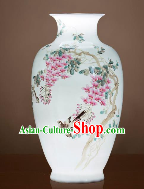 Chinese Jingdezhen Ceramic Hand Painting Wisteria Powder Enamel Vase Handicraft Traditional Porcelain Vase