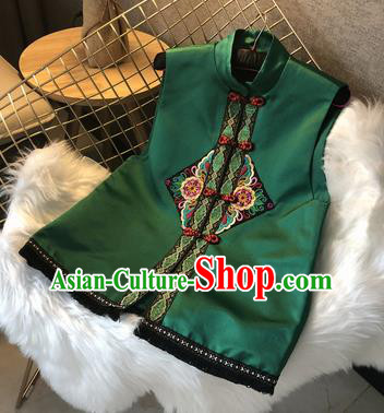 Chinese Traditional National Costume Embroidered Green Vest Tang Suit Waistcoat Upper Outer Garment for Women