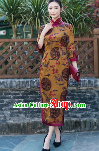 Chinese Traditional Tang Suit Golden Silk Qipao Dress National Costume Cheongsam for Women