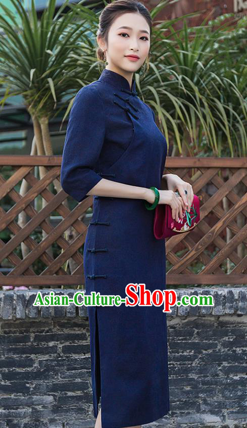Chinese Traditional Tang Suit Navy Qipao Dress National Costume Cheongsam for Women