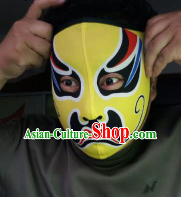 Chinese Traditional Sichuan Opera Face Changing Yellow Masks Handmade Painting Facial Makeup