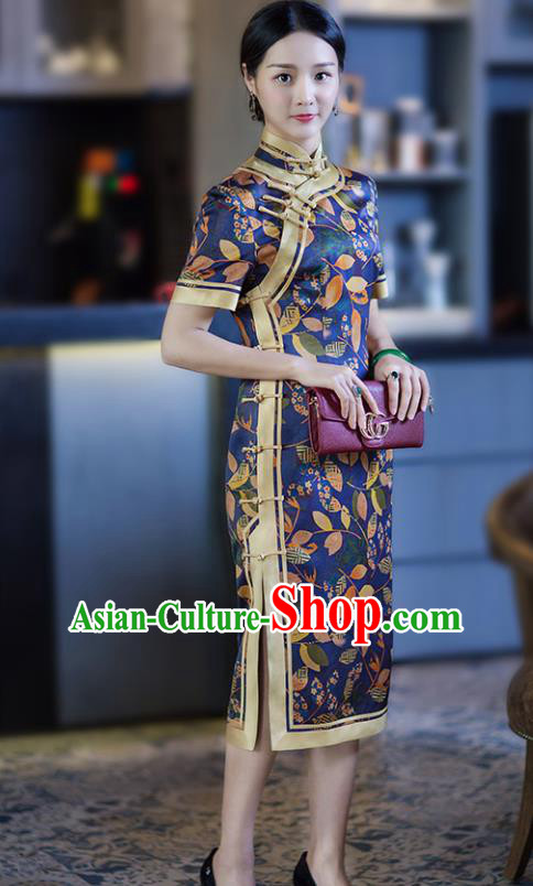 Chinese Traditional Tang Suit Printing Leat Blue Silk Qipao Dress National Costume Cheongsam for Women