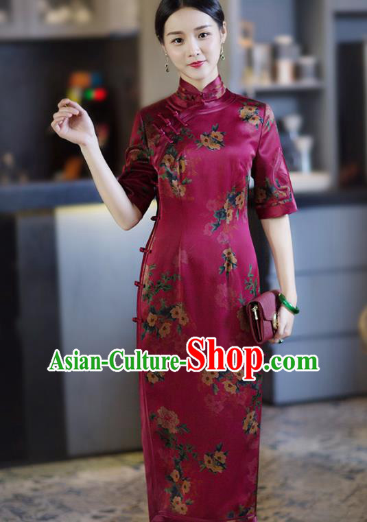 Chinese Traditional Tang Suit Printing Rosy Silk Qipao Dress National Costume Cheongsam for Women