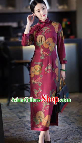 Chinese Traditional Tang Suit Wine Red Qipao Dress National Costume Printing Cheongsam for Women