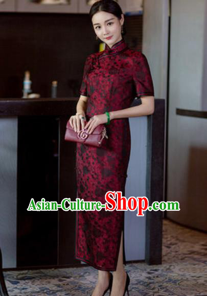Chinese Traditional Tang Suit Qipao Dress National Costume Purplish Red Silk Cheongsam for Women