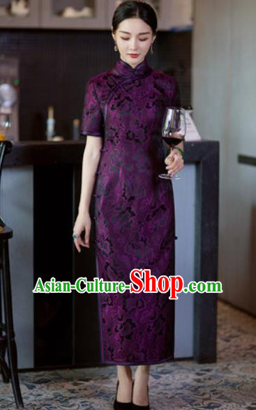 Chinese Traditional Tang Suit Qipao Dress National Costume Purple Silk Cheongsam for Women