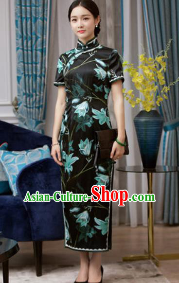 Chinese Traditional Printing Black Silk Cheongsam Tang Suit Qipao Dress National Costume for Women
