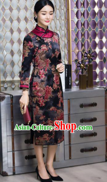Chinese Traditional Printing Peony Black Cheongsam Tang Suit Qipao Dress National Costume for Women