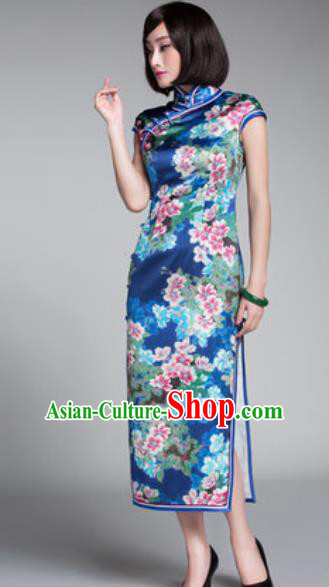 Chinese Traditional Printing Flowers Blue Cheongsam Tang Suit Qipao Dress National Costume for Women