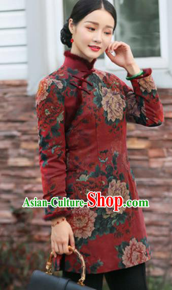 Chinese Traditional Tang Suit Upper Outer Garment Printing Peony Jacket National Costume for Women