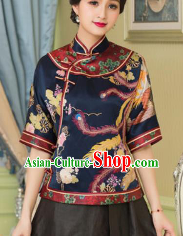Chinese Traditional Tang Suit Upper Outer Garment Printing Phoenix Navy Silk Blouse National Costume for Women