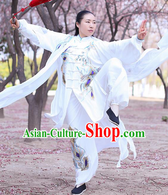 Chinese Traditional Martial Arts Costume Kung Fu Tai Chi Embroidered Phoenix White Clothing for Women
