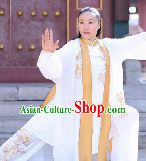 Chinese Traditional Martial Arts Competition Costume Kung Fu Embroidered White Clothing for Women