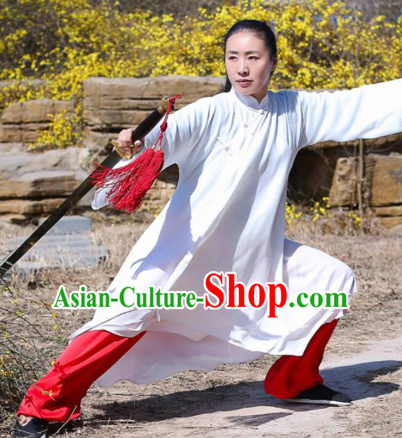 Chinese Traditional Martial Arts Competition White Costume Kung Fu Tai Chi Clothing for Women