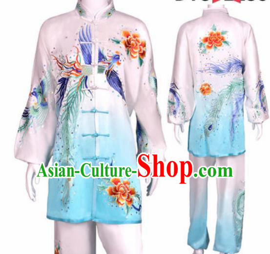 Chinese Traditional Kung Fu Competition Costume Martial Arts Tai Chi Embroidered Phoenix White Clothing for Women