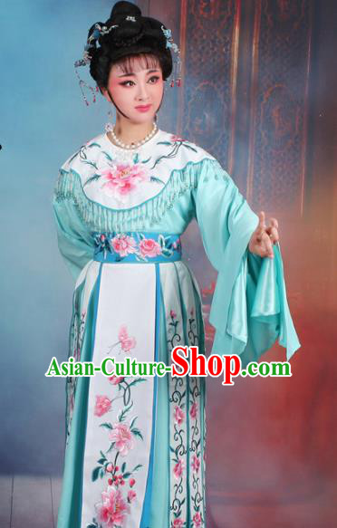 Chinese Traditional Shaoxing Opera Court Princess Embroidered Green Dress Beijing Opera Hua Dan Costume for Women