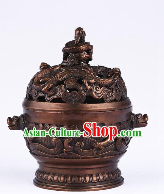 Chinese Traditional Brass Carving Dragon Incense Burner Taoism Bagua Feng Shui Items Censer Decoration