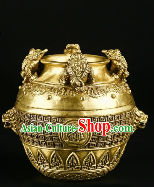Chinese Traditional Feng Shui Items Taoism Bagua Brass Canister Decoration