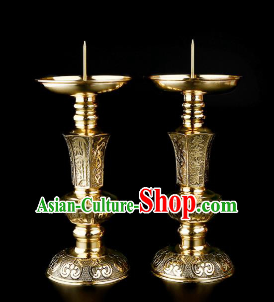 Chinese Traditional Feng Shui Items Taoism Bagua Brass Candlesticks Decoration