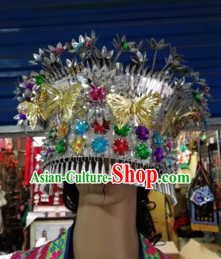 Chinese Traditional Ethnic Wedding Hair Accessories Miao Nationality Bride Tassel Phoenix Coronet for Women