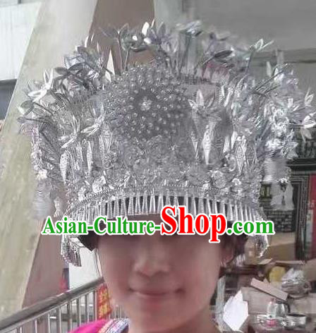 Chinese Traditional Ethnic Hair Accessories Miao Nationality Wedding Sliver Phoenix Coronet for Women