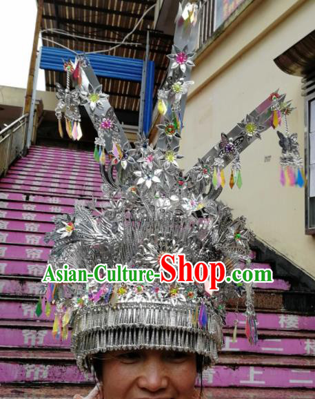 Chinese Traditional Ethnic Sliver Headwear Miao Nationality Bride Wedding Phoenix Coronet for Women